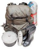 在白色背景隔绝的远征设备 免版税库存图片