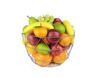 在白色背景隔绝的金属篮子的五颜六色的果子 免版税图库摄影