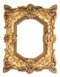 在白色背景隔绝的金黄巴洛克式的框架 免版税库存图片