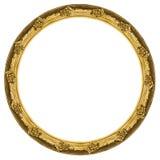 在白色背景隔绝的金黄圆框架 免版税库存图片