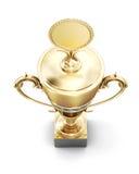 在白色背景隔绝的金黄战利品杯子 顶视图 3d ren 免版税库存照片