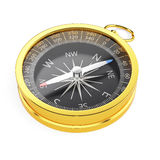 在白色背景隔绝的金黄指南针 库存照片