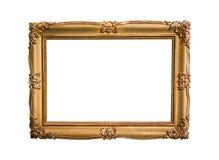 在白色背景隔绝的金黄画框 免版税图库摄影