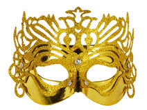 在白色背景隔绝的金黄狂欢节面具 库存照片