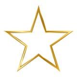 在白色背景隔绝的金黄简单的3D星框架 库存图片