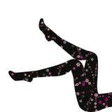 在白色背景隔绝的长的腿的花卉长袜 免版税库存照片