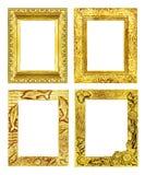 在白色背景隔绝的集合4古色古香的金黄框架, clippin 免版税库存图片