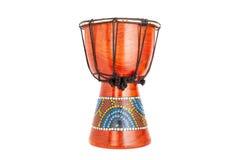 在白色背景隔绝的非洲djembe鼓 库存照片