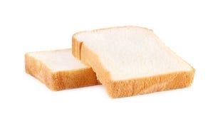在白色背景隔绝的面包片 免版税库存图片