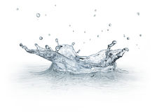 在白色背景隔绝的飞溅水。 免版税库存照片