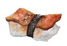 在白色背景隔绝的鳗鱼寿司,与裁减路线,水彩日本人食物 免版税库存照片