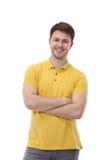在白色背景隔绝的年轻人画象 免版税库存照片