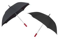 在白色背景隔绝的黑伞 免版税库存照片