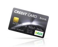 在白色背景隔绝的黑信用卡 库存例证