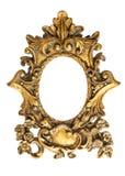 在白色背景隔绝的巴洛克式的金黄框架 古色古香的objec 免版税库存照片