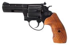在白色背景隔绝的黑左轮手枪 免版税库存照片