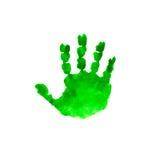 在白色背景隔绝的水彩绿色孩子handprint 孩子手印刷品 儿童的手被隔绝的版本记录  免版税库存照片