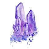在白色背景隔绝的水彩紫色水晶紫色的群手拉的绘画例证, tanzanit d的宝石 免版税图库摄影
