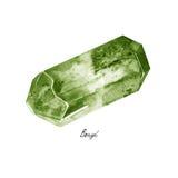 在白色背景隔绝的水彩绿色绿玉概略的宝石tumblestones 免版税库存图片