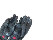 在白色背景隔绝的黑手套摩托车 免版税库存图片