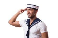 在白色背景隔绝的水手 免版税图库摄影