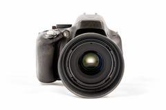 在白色背景隔绝的黑未打上烙印的DSLR照相机 库存照片