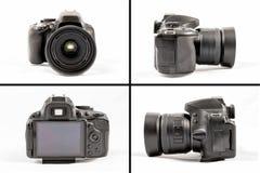 在白色背景隔绝的黑未打上烙印的DSLR照相机 免版税库存图片