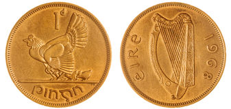 在白色背景隔绝的1枚便士1968硬币,爱尔兰 免版税库存图片