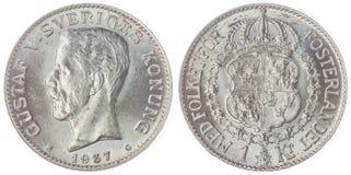 在白色背景隔绝的1枚克罗钠1937硬币,瑞典 免版税库存照片