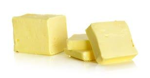 在白色背景隔绝的黄油 库存图片