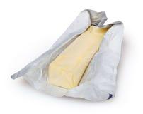 在白色背景隔绝的黄油 免版税图库摄影
