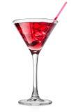 在一块高玻璃的红色鸡尾酒 免版税库存图片
