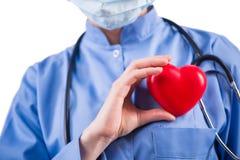 在白色背景隔绝的医生心脏科医师 免版税库存图片