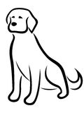 在白色背景隔绝的滑稽的狗黑色概述 免版税图库摄影