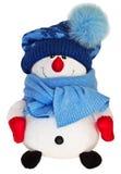在白色背景隔绝的滑稽的雪人玩具 免版税图库摄影