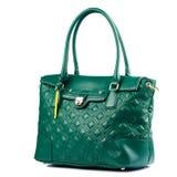 在白色背景隔绝的绿色女性皮革提包 免版税库存图片