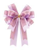 在白色背景隔绝的紫色弓丝带 库存照片