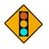 在白色背景隔绝的黄色标志板的红绿灯 图库摄影