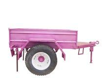 在白色背景隔绝的紫色汽车拖车 库存照片