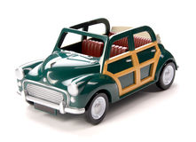 在白色背景隔绝的绿色玩具汽车 库存图片