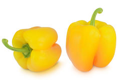 在白色背景隔绝的黄色胡椒 免版税库存图片