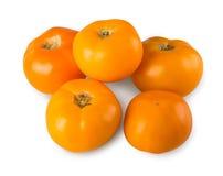 在白色背景隔绝的黄色蕃茄 免版税库存图片