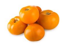 在白色背景隔绝的黄色蕃茄 库存照片