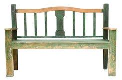 在白色背景隔绝的绿色长木凳 免版税库存照片