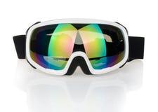 在白色背景隔绝的滑雪风镜 免版税库存图片