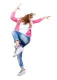 在白色背景隔绝的年轻Hip Hop舞蹈家跳舞 免版税库存图片