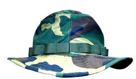 在白色背景隔绝的Camou帽子 库存照片