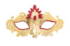 在白色背景隔绝的Carnaval金黄面具 免版税图库摄影
