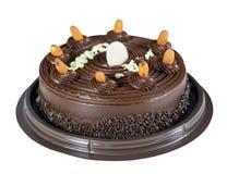在白色背景隔绝的Chocolated蛋糕 库存图片