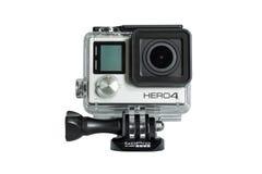 在白色背景隔绝的GoPro英雄4黑编辑 免版税库存照片
